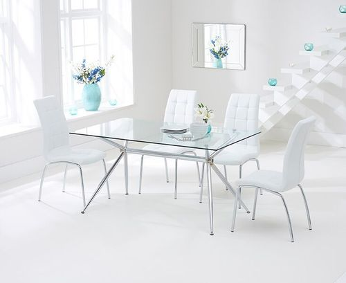 150cm clear glass dining table and 6 white chairs