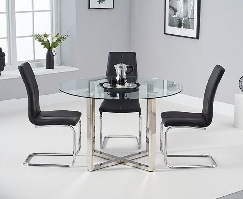 Round glass chrome dining table & 4 black chairs