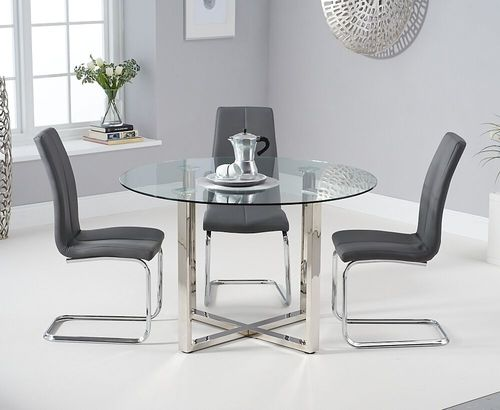 Round glass chrome dining table & 4 grey chairs