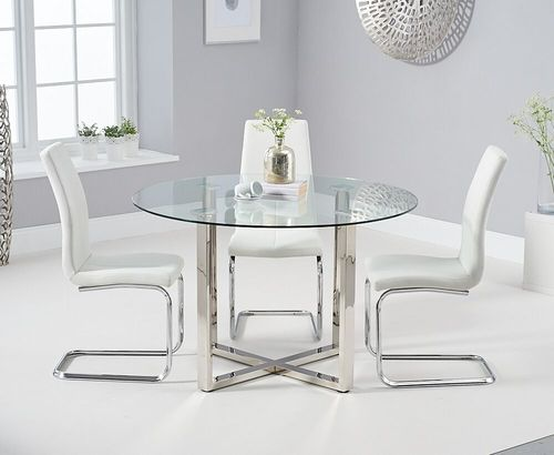 Round glass chrome dining table & 4 white chairs