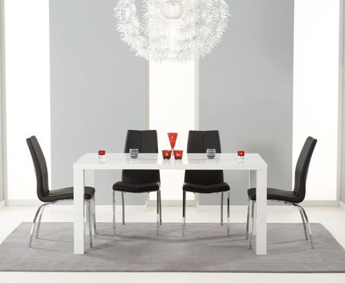 160cm White high gloss dining with 6 black chairs