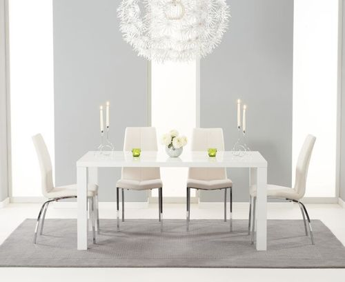 160cm White high gloss dining with 6 ivory white chairs