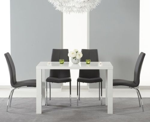 120cm white high gloss dining table and 4 grey chairs