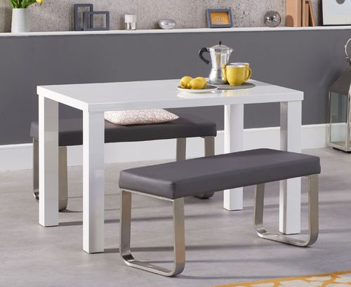 White high gloss dining table bench set 4 seater