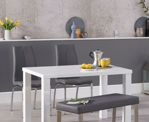 120cm White high gloss dining table with bench and 2 chairs