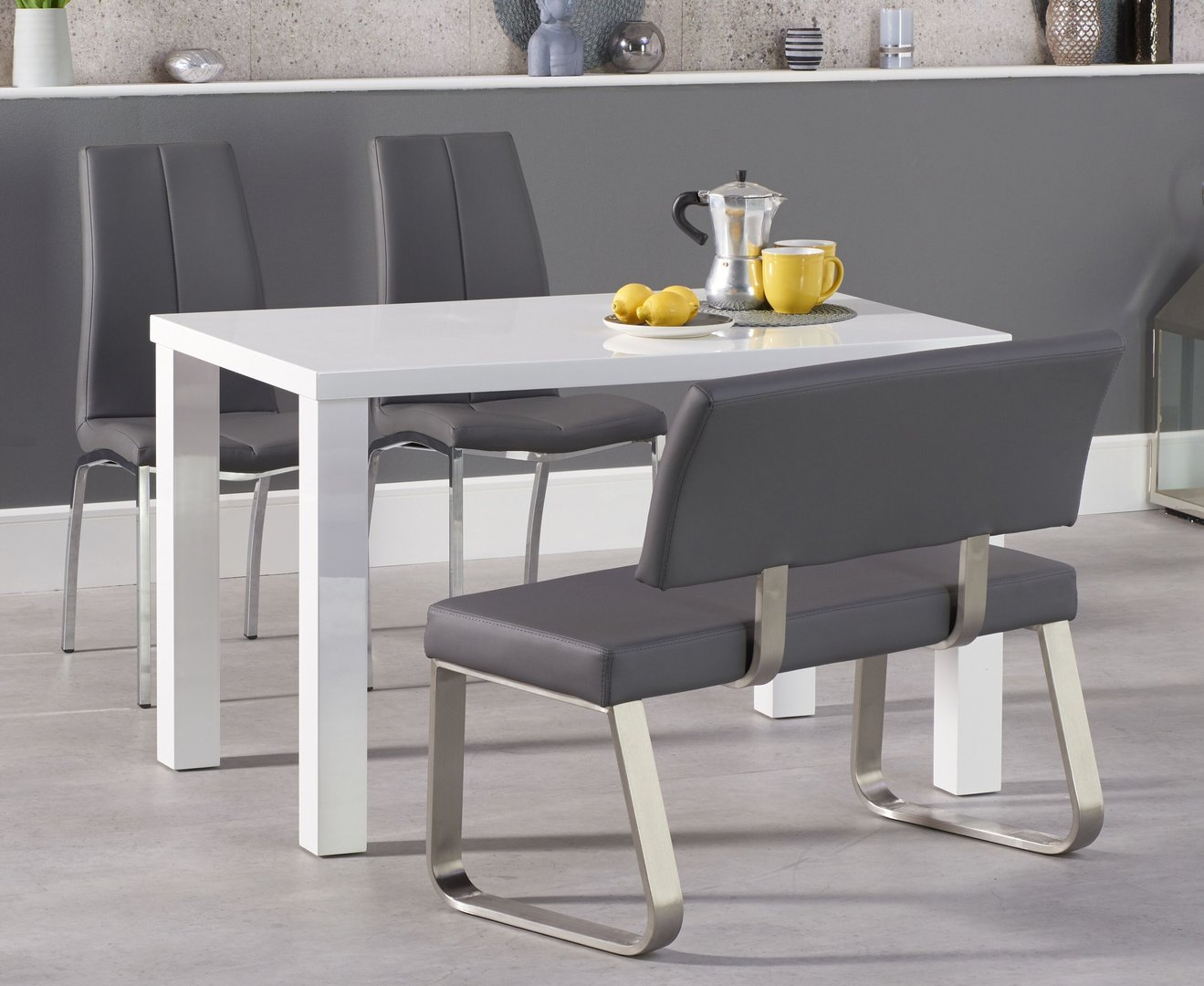 Picture of: White High Gloss Dining Table With Bench And Chairs Homegenies