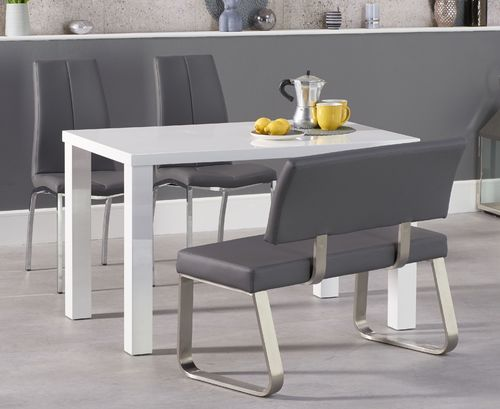 120cm White high gloss dining table with bench and chairs