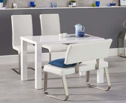 120cm White high gloss dining table bench and chair set