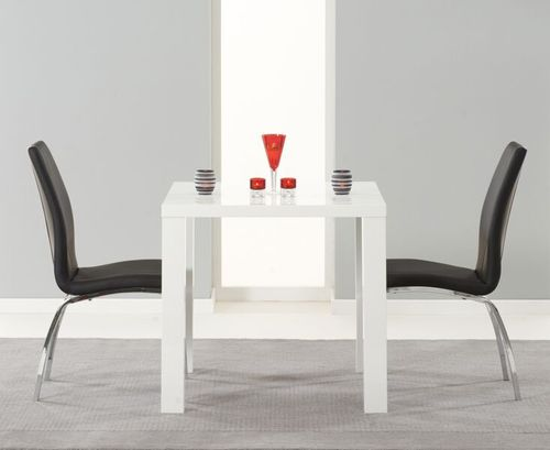 80cm square white high gloss dining table and 2 black chairs