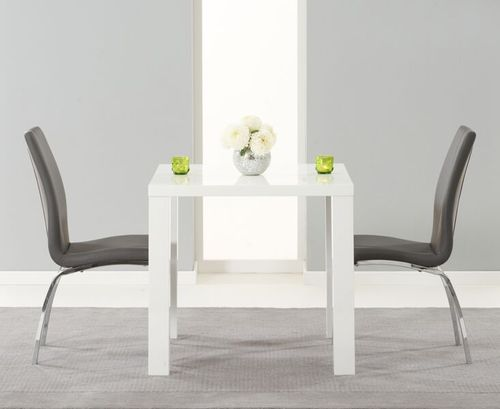 80cm square white high gloss dining table and 2 grey chairs