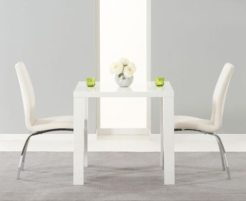 80cm square white high gloss dining table and 2 white chairs
