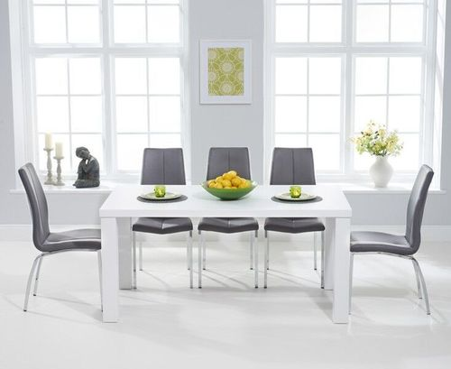 180cm white high gloss dining table and 6 grey chairs