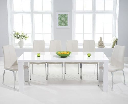 200cm White high gloss dining table and 8 chairs