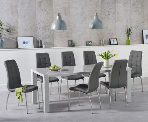 200cm Light grey high gloss dining table and 8 chairs