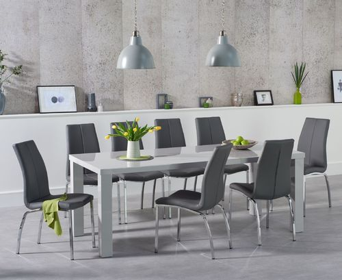 Light grey high gloss dining table and 8 grey chairs