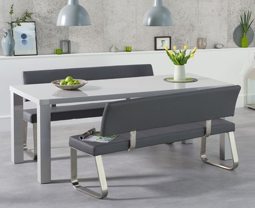 Light grey high gloss 6 seater table and bench set