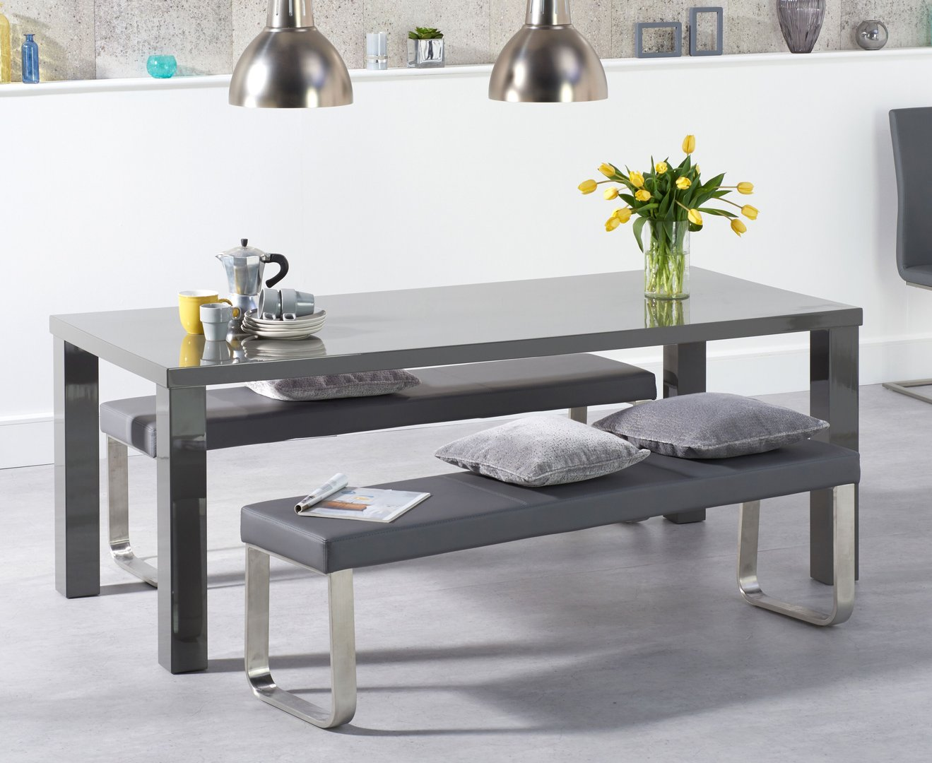 Marvelous Dark Grey High Gloss 6 Seater Dining Table Bench Set Alphanode Cool Chair Designs And Ideas Alphanodeonline