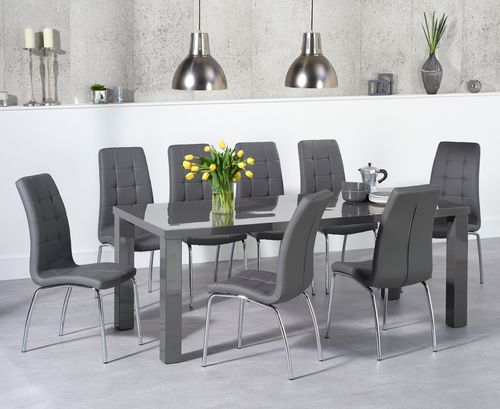 Dark grey high gloss dining table and 8 chairs