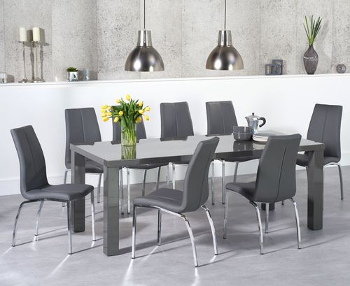 200cm Dark grey high gloss dining table and 8 grey chairs