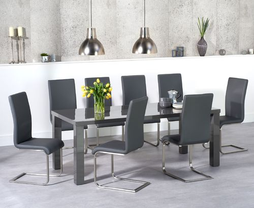 Dark grey high gloss dining table set and 8 grey chairs