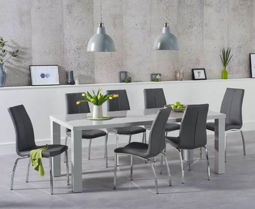 180cm light grey high gloss dining table and 6 chairs