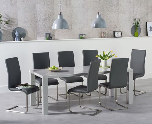 180cm grey high gloss dining table with 6 chairs