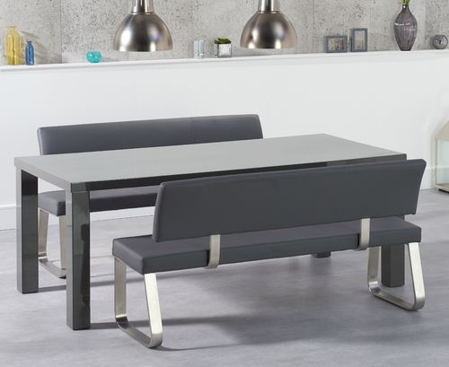 180cm grey high gloss dining table with bench set