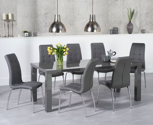 180cm Dark grey gloss dining table and chair set