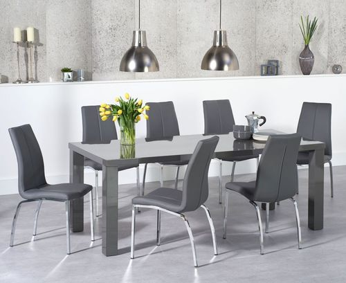 180cm Dark grey high gloss dining table and 6 chairs