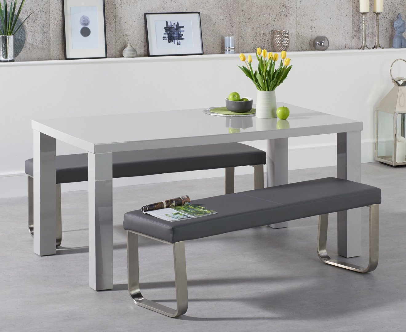 160cm Light Grey High Gloss Dining Table Bench Set Homegenies