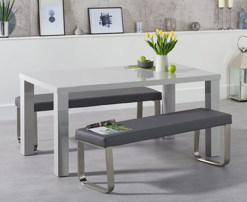 160cm Light grey high gloss dining table bench set