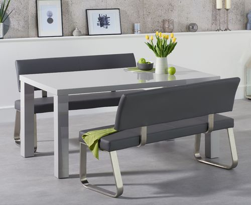 160cm 4 seater light grey gloss table and bench set