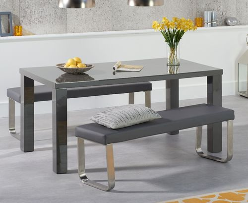 160cm Dark grey high gloss dining table bench set