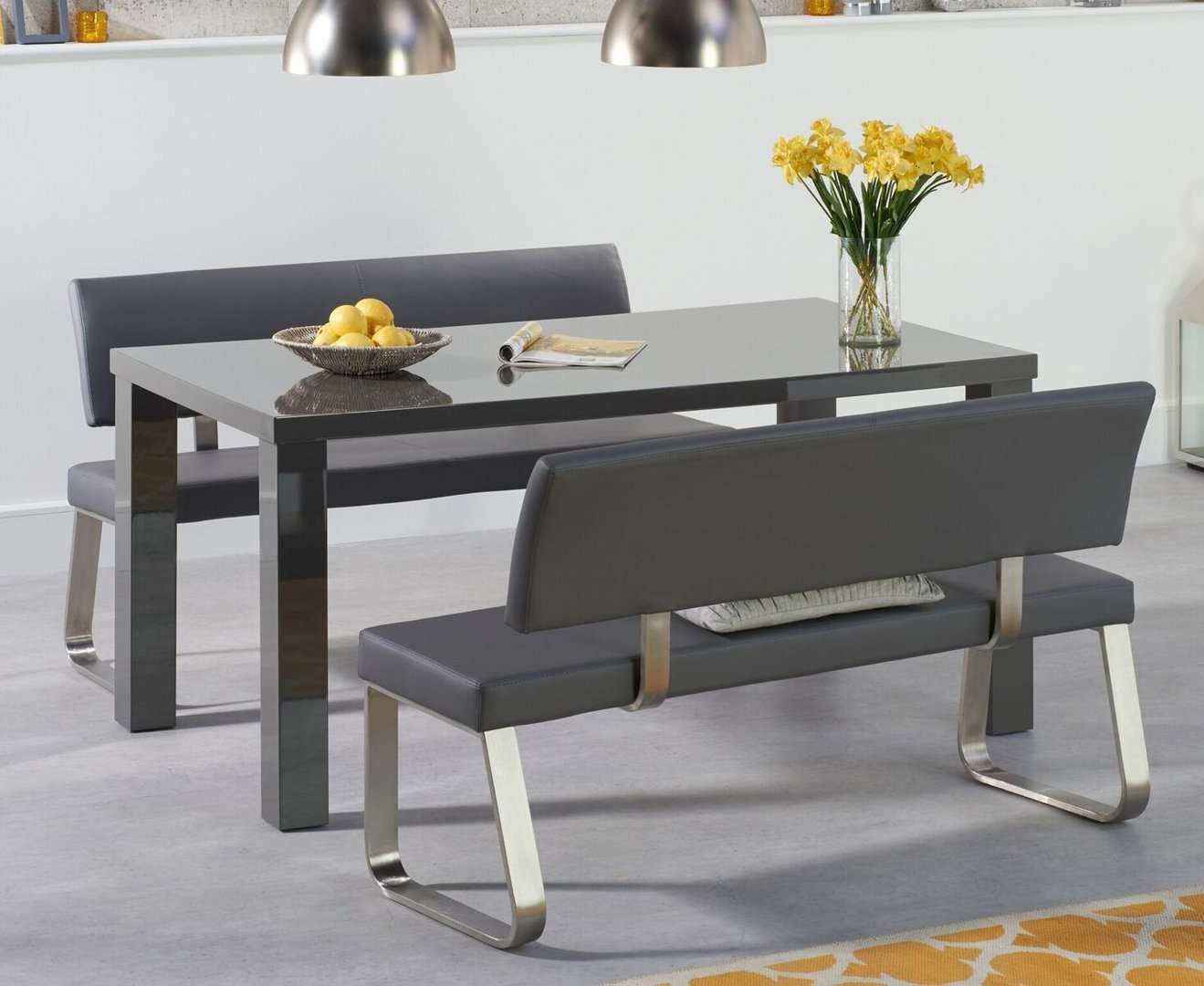 Sensational 160Cm 4 Seater Dark Grey Gloss Table And Bench Set Alphanode Cool Chair Designs And Ideas Alphanodeonline