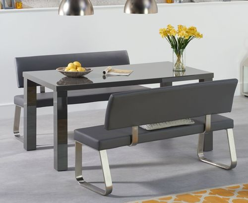 160cm 4 seater Dark grey gloss table and bench set
