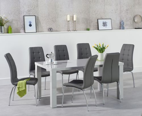160cm Light grey dining table and 6 chairs set