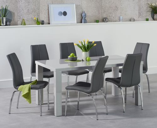 160cm Light grey dining table with 6 grey chairs
