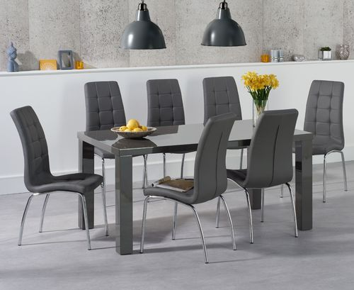 160cm Dark grey high gloss dining table and chairs
