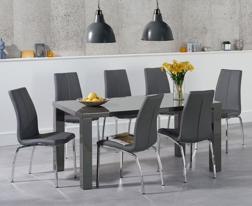 Dark grey high gloss dining table and 6 grey chairs set