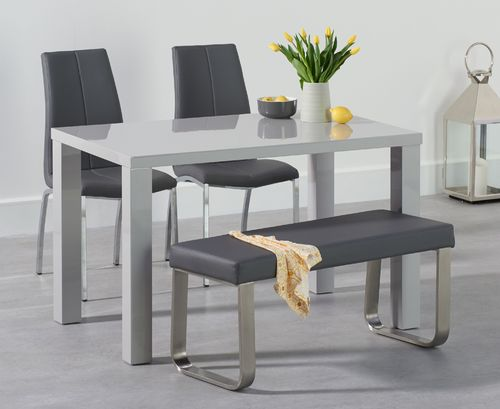 Light grey high gloss dining table with bench & 2 chairs