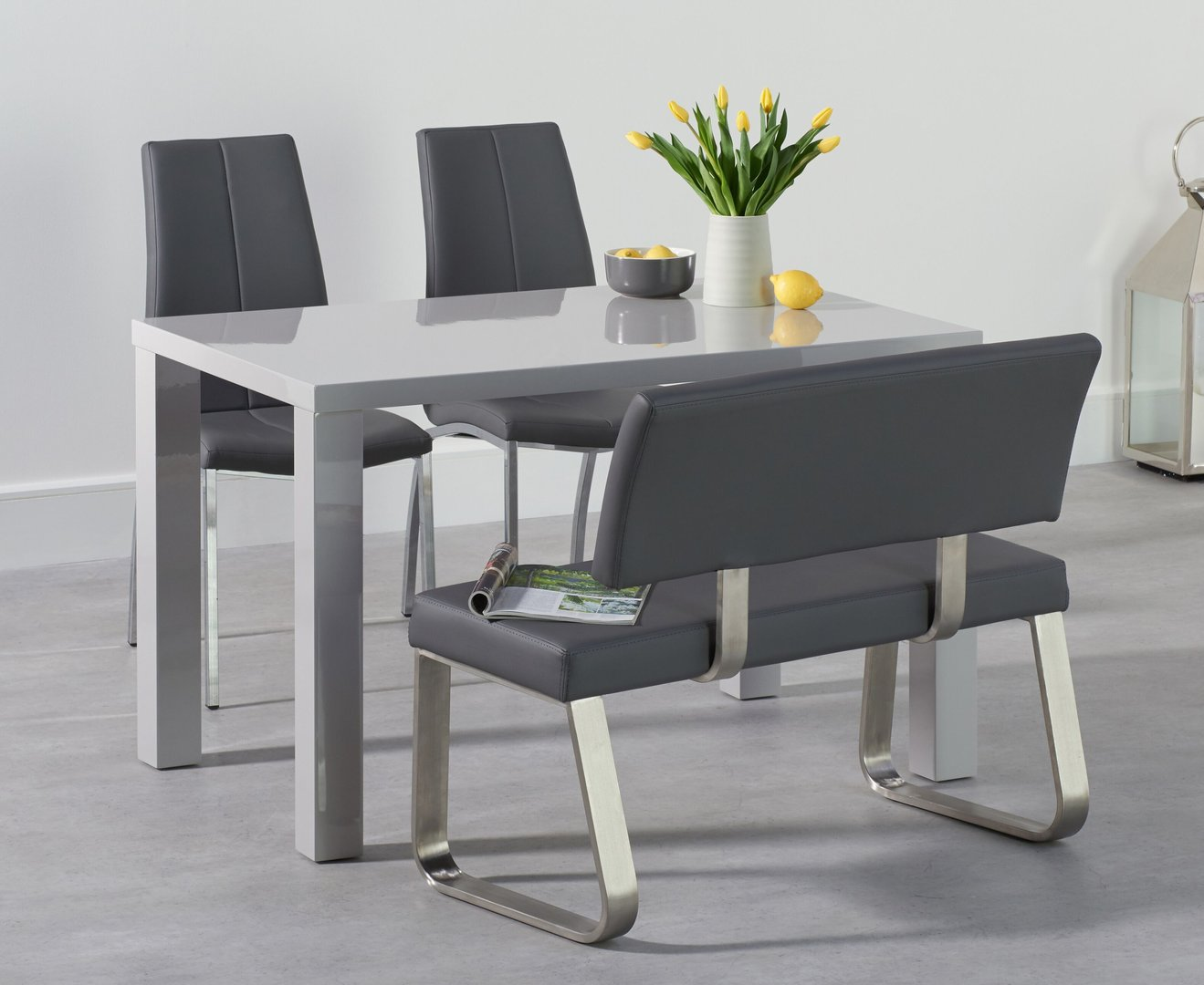120cm light grey dining table with bench & chair set ...