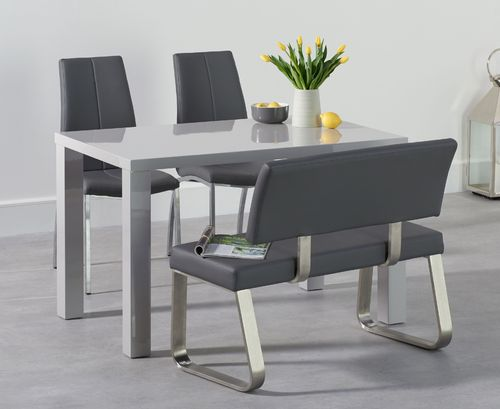 120cm light grey dining table with bench and chair set