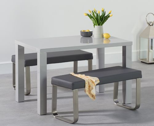 120cm Light grey high gloss dining table bench set
