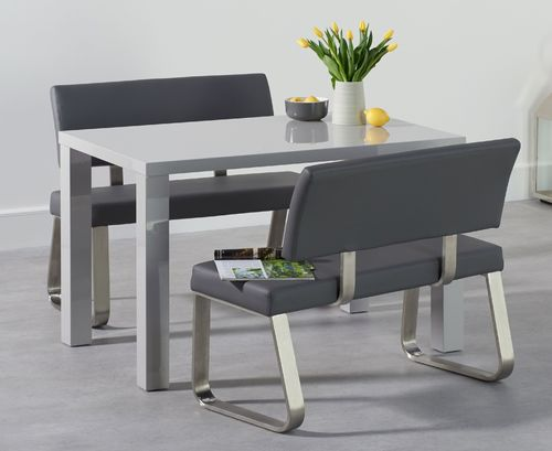 120cm Light grey high gloss dining table with 2 benches