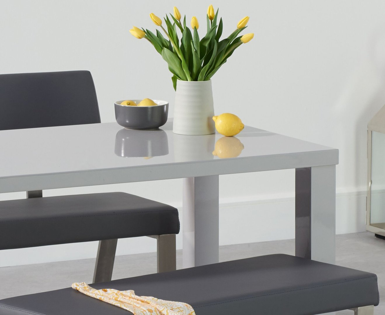 Awesome Light Grey 4 Seater High Gloss Dining Bench Set Alphanode Cool Chair Designs And Ideas Alphanodeonline