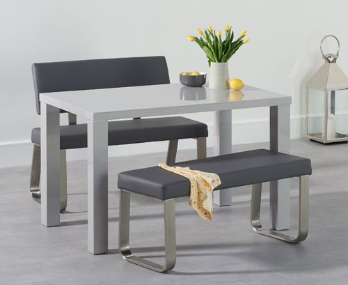 Light grey 4 seater high gloss dining bench set