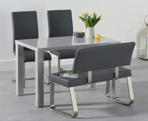Light grey high gloss dining table bench set with 2 chairs