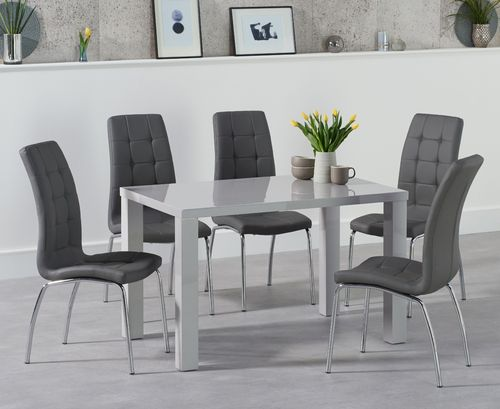 Light grey high gloss dining table and 4 chairs