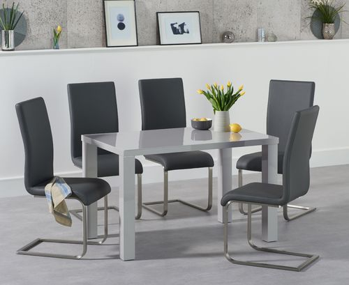 120cm light grey dining table and 4 chairs