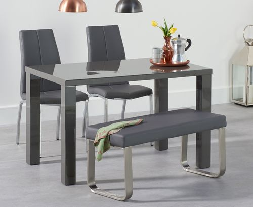 120cm Dark grey dining table with bench and chairs set
